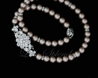 Bridal Necklace Champagne Powder Almond Pearl Necklace Swarovski Rhinestone wedding necklace wedding jewelry  ANNELISSE