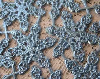 14 Fancy Blue Foil Dresden Snowflakes From Germany