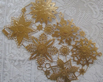 Dresden Trim 6 Jumbo Antique Gold Medallions Halos Stars Made In Germany Die Cuts Christmas