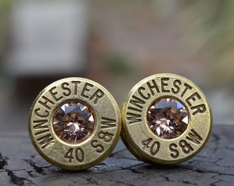 Bullet Earrings stud or post, brass/gold Winchester .40 S&W with Swarovski crystals