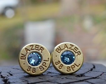 Bullet Earrings stud earrings or post earrings gold earrings Blazer .38 special earrings bullet jewelry with Swarovski crystals