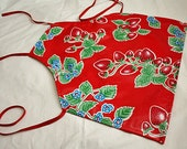 Oil Cloth Laminate Adult Full Body Apron Smock Red Strawberries