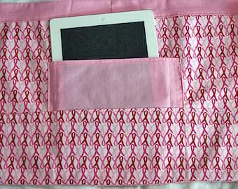 Vendor Teacher Half iPad Waist Craft Art Apron Pink Ribbon Breast Cancer Awareness Fabric (4 Pockets)
