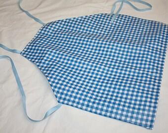 Oil Cloth Laminate Full Body Apron Smock Adult Blue Gingham Checker
