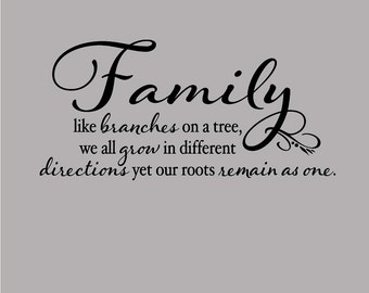 Family Like Branches on a Tree wall decor - custom color - Wall Decal - family quote wall art