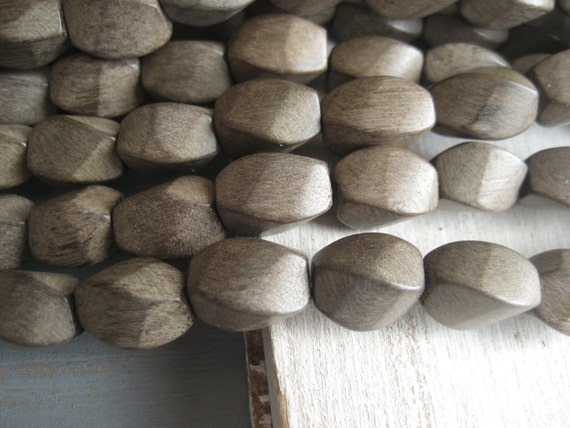 Graywood wood beads Greywood   twisted  tube  Grey wood beads from Philippines - 10  x 15 mm  / full strand 28  pcs - 3aph90