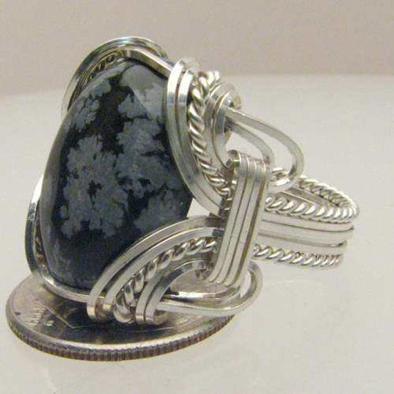 Handmade Artisan Sterling Silver Wire Wrap Snowflake Agate Gemstone Ring