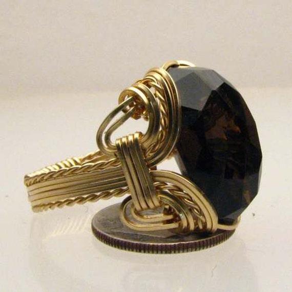Handmade 14kt Gold Filled Wire Wrap Smoky Quartz Ring