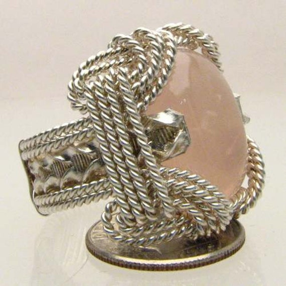 Handmade Sterling Silver Wire Wrap Rose Quartz Ring