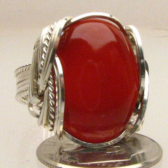 Gemstone Ring Handmade Sterling Silver Wire Wrap Red Carnelian Cabochon Ring