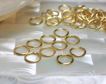 8mm 18g CLOSED Jump Rings Matte Gold Plated Brass Nickel free Hypoallergenic 20pcs Jewelry Jewellery Craft Supplies