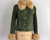 1960s Leather Jacket in Green Suede and Faux Fur Sheepskin Collar