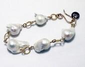 Baroque Pearl Bracelet June Birthstone Bracelet Genuine Pearl Bracelet Real Pearl Bracelet 22K Gold Vermeil Bracelet