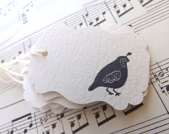 Quail Gift Tags // Black and Creme // Set of 6