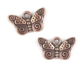 TierraCast SPIRAL BUTTERFLY Charms - Antique Copper Charms - Summer Butterfly Drops  (P553)