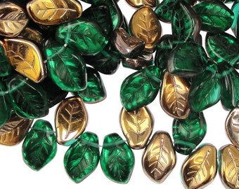 25 Green Leaf Beads - 14mm x 9mm Czech Glass Leaves - Emerald Bronze Dark Green Leaves - Fall Beads Autumn Beads Golden Leaf Briolettes