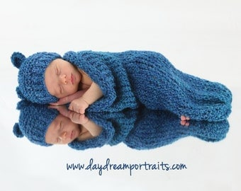 Blue Baby Cocoon and Bear Hat Set, Newborn Photo Prop, Cobalt Blue Knitted Baby Set, Baby Boy Bear Hat and Cocoon, Knit Baby Cocoon,