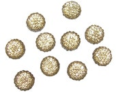 10mm round and sparkly cabochon in Champagne 10pcs