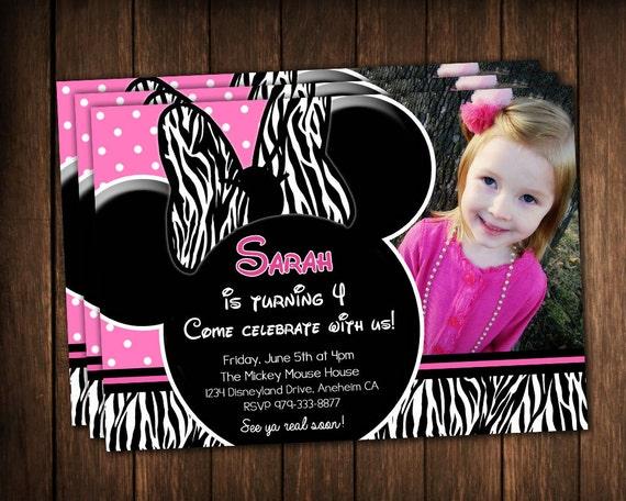 Mimi Mouse invitaciónes en rosa y con cebra - Imagui