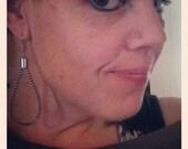 Vintage Zipper Silver Loop Earrings