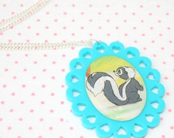 SALE Skunk Necklace, Bambi Illustration Necklace OOAK, Woodland, Animal Necklace