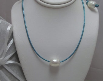 Floating Genuine Freshwater White Pearl on Leather  Beach Necklace