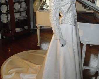 Reduced...Vintage Simple Wedding Gown 2 piece Suit Gown Perfect for the WINTER,  Conservative or Older Bride