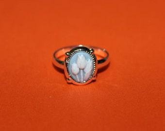Tiny Blue Tulips Cameo Ring
