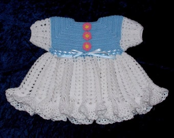 Blue and White Baby Dress Crochet Dress  3 to 6 months Ready to Ship Sweater Dress Baby Girl Baby Shower Gift Fall Dress