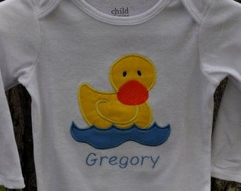 Monogrammed shirt or baby onesie with Rubber duckie applique