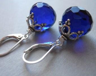 Royal Blue Quartz Earrings. Blue Earrings, Gemstone Earrings, Royal Flush, Sapphire Blue earrings, Simple Drop Earrings, Drop Earrings,