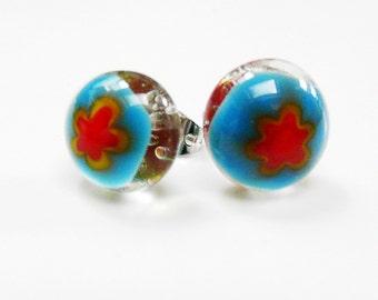 Earrings Post Earstuds Studs Blue Red Yellow Clear Glass Fused Flower Earrings