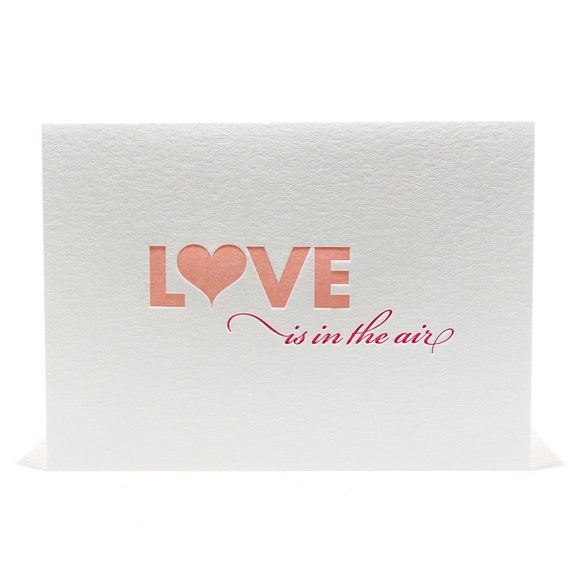 Love Letterpress Valentine's Day Love is in the Air Letterpress Card in Light Pink and Magenta