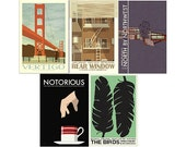 Movie posters Hitchcock Collection set of FIVE 12 x 18 inches prints save 10%