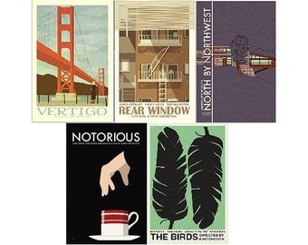 Movie posters Hitchcock Collection set of FIVE prints in various sizes save 10%