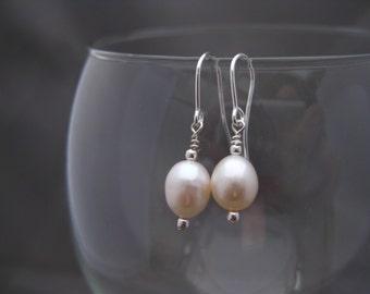 Shining Sterling Silver White Freshwater Pearl Earrings