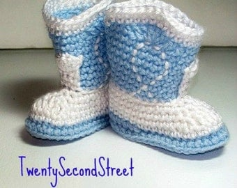 Baby  Booties  Baby Blue & White Cowboy Booties NEWBORN Photo Prop