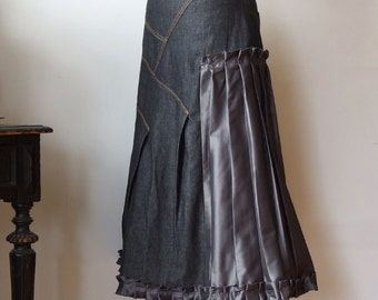 Ruffled denim skirt, aline skirt, asymmetrical skirt with pleats and taffeta inserts and  ruffle, graphite gray skirt, industrial romantic