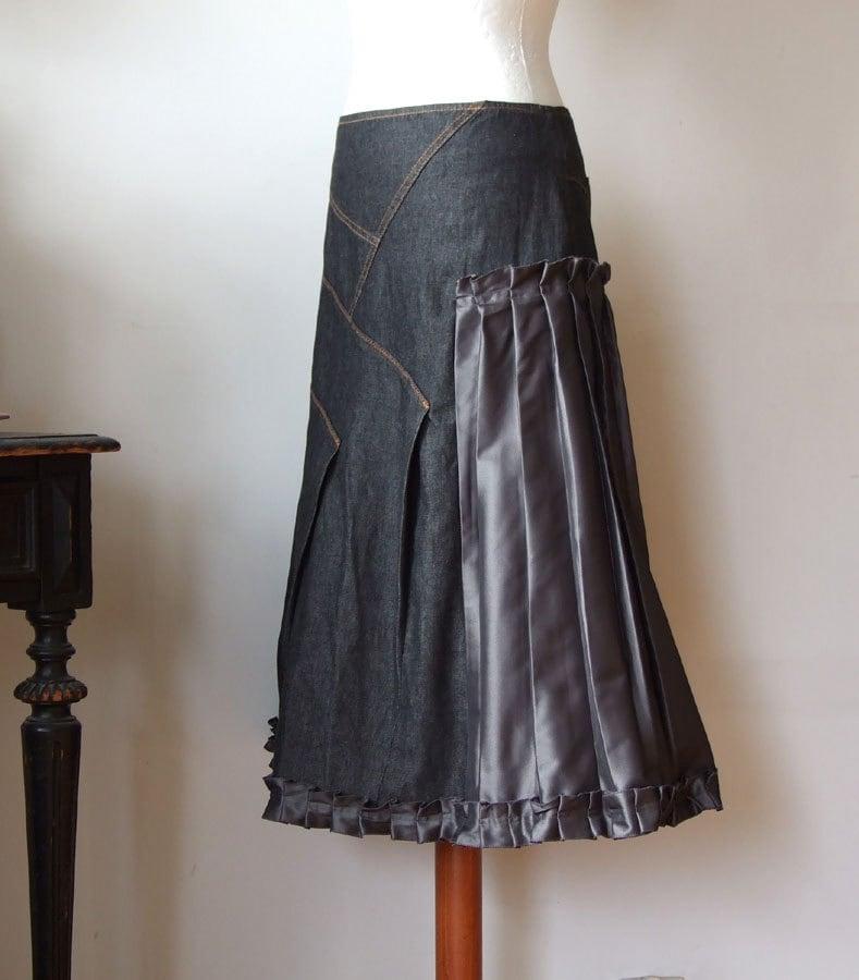 ruffled denim skirt aline skirt asymmetrical skirt with