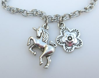 Unicorn Bracelet, Silver Unicorn, Mythical Unicorn Horse Charm, Unicorn and Flower Charm Bracelet