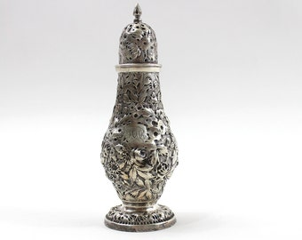 1840s Sterling Shaker, Silver Repousse by A E Warner