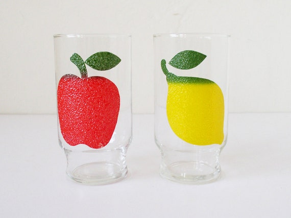 RESERVED - Glass tumblers with fruit decoration