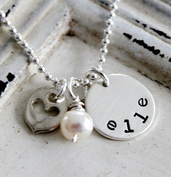 Personalized Mothers Necklace, Hand Stamped Jewelry, Sterling Silver Mothers Necklace .... Hand Stamped Name Necklace