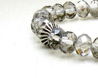 Gray Crystal Modern Beaded Bracelet, Neutral Crystal Stretch Bracelet, for Her Under 40