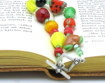 Red Yellow Green Fruit Boho Beaded Bracelet Bright Clasp Bracelet,  for Her Under 80, One of a Kind