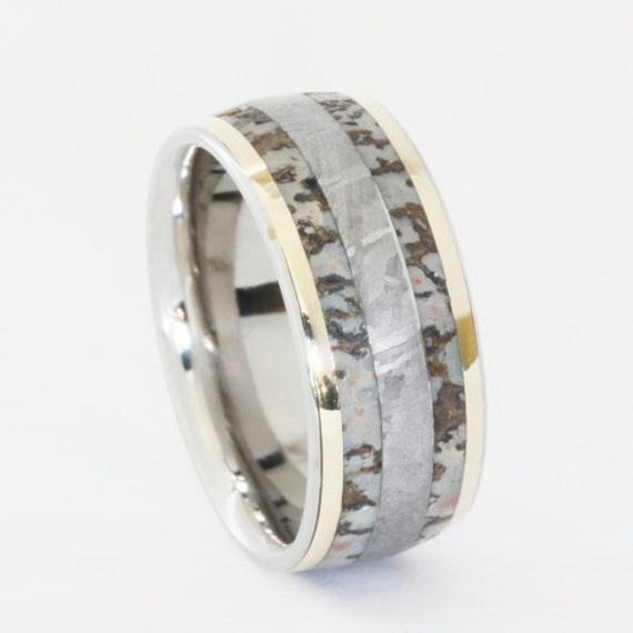 dinosaur bone ring with gibeon meteorite and by jewelrybyjohan