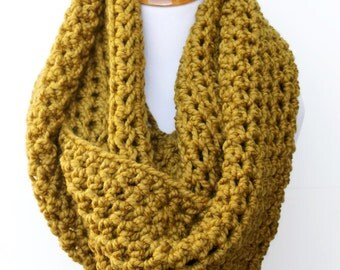 Huge Scarf, Oversized Infinity Scarf, Large Knit Scarf, Huge Infinity Scarf, Chunky Scarf, Snapdragon Gold Scarf