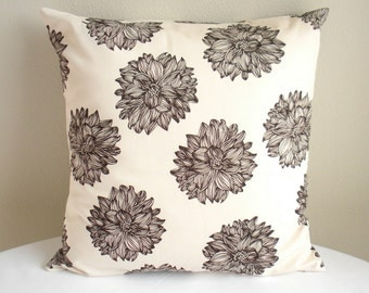 "Organic Cotton Pillow Cover, Eco Friendly - Evelyn Chocolate Brown Flowers - 18"" x 18"" - Pillow Sham"