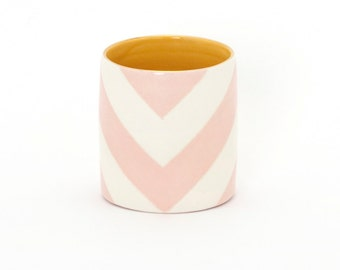Handmade, Ceramic, Vase, Cup, Luxury, Gift, Gold Edged, Chevron, Light Pink