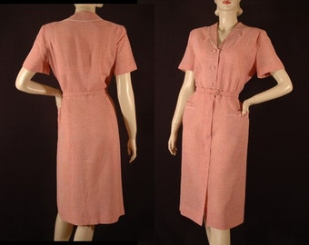 Vintage 1950s Lordleigh Check Shirt Dress Size M d101